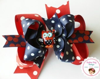 NEW---Big Boutique Triple Layered Hair Bow Clip---MISS OWL---Back to School Bow