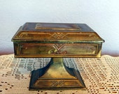 Vintage 1930s Art Deco Pedestal Jewelry Box - W B Mfg. Co Weidlich Bros. - Gilded Copper Pedestal Jewel Casket - Green Velvet Lining