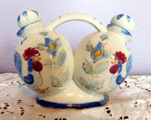 Vintage Nasco Blue Rooster Oil & Vinegar Ceramic Cruet Set - Hand-Painted Roosters / Flowers - Mid-Century Connected Cruets - Made in Japan