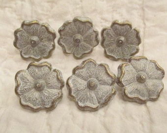 6 Vintage Drapery Pins Metal Whitewashed flowers SALE