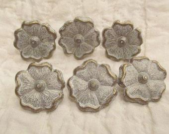 6 Vintage Drapery Pins Metal Whitewashed flowers