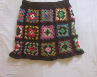 Hand Crocheted  Skirt with Granny Squares and Ribbed Waist