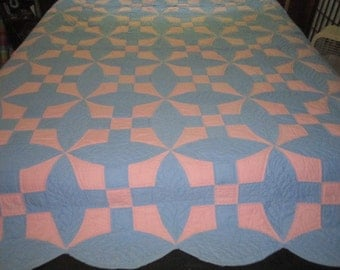 Vintage Lovely Blue and Peachy Pink Cotton Handsewn Scalloped Quilt