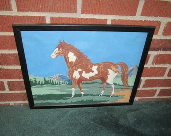 Vintage Mid Century Framed Pinto Horse Painting