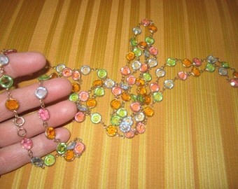 """Vintage Gorgeous 53"""" Colorful Faceted Glass Beaded Necklace"""