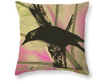 Grackle Bird Art Pillow, Pink Green Black Art, Cottage Chic Home Decor, Decorative Wildlife, Throw Pillow, Curious Bird, Couch Cushion