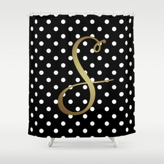 Monogrammed Shower Curtain Black White Polka Dot Gold