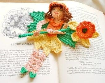 daffodil fairy thread crochet bookmark pattern, spring fairy ornament DIY, fairytale amigurumi instructions crochet daffodil fairy DIY