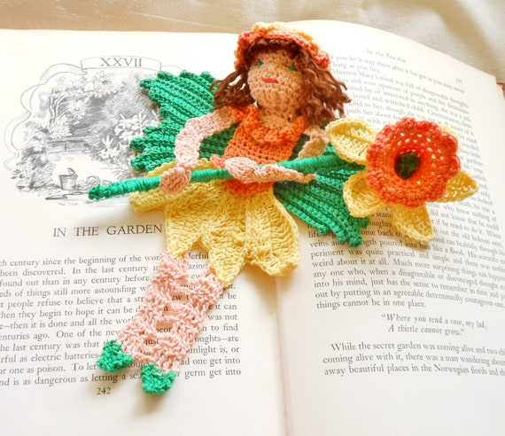 Daffodil Spring Fairy Amigurumi Crochet Pattern : daffodil fairy thread crochet bookmark pattern spring fairy