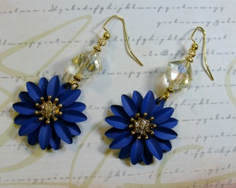 Blue Blossoms-metal flower earrings, gold with rhinestones, 2 3/4 inches or 7 cm