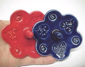 Ring Holder Dish with Hearts & Swirls | Choose Really Red or Dark Cobalt Blue