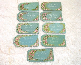 "Hand Painted Wood Tags ""Tag Sale Treasures"", Set Of Nine"