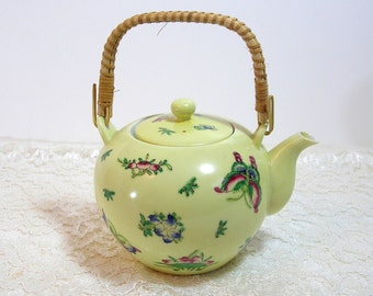 Yellow Japanese Porcelain Teapot With Butterflies And Flowers