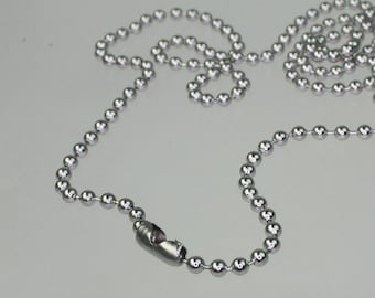 Stainless Steel chain bulk,   50pcs of 24 inch (60cm) STAINLESS Steel Ball Chain Necklace - 24 inch -  2.4mm ball chain, Wholesale