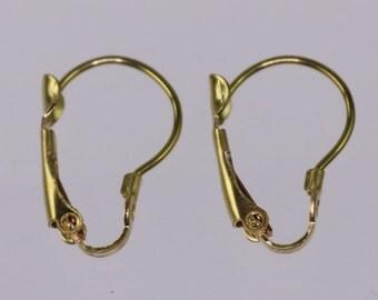 50 raw Brass Bronze Leverback Earrings earwire - 16X11mm