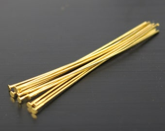 100 Gold Headpin - 2 Inch 22 Gauge 22G - Gold Plated Brass Flat Round Head Headpin Head pins TPin - ship from California USA