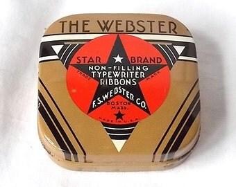 Vintage The Webster Star Brand Typewriter Ribbon Tin