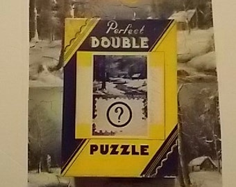 Vintage 1930s Perfect Double Jigsaw Puzzle Snow Scenes Mystery Challenge