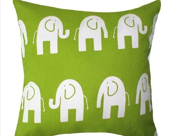 Chartreuse Throw Pillow - Ele the Elephant Chartreuse Decorative Throw Pillow Free Shipping