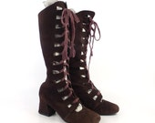 Brown Suede Boots Vintage 1960s Cutout Lace Up Leather Mod Women's size 7 B