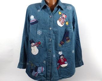 Ugly Christmas Sweater Vintage 1980s Denim Chambray Shirt Snowman Women's size 18 20
