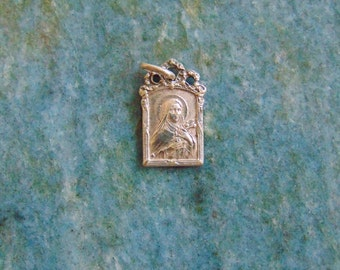 French Antique Silver Vintage Saint Therese of the Child Jesus Catholic Medal Pendant