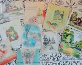 The Country Cottage in Vintage Illustrations in Vintage All Occasion Lot No 94 Total of 10 circa 1940s Birthday Mothers Day