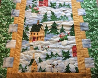 Winter Wonderland Table Quilt Hand Quilted