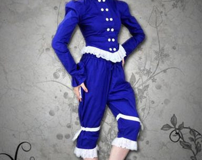 Womens Pirate Costume, Blue Pirate Costume, Steam Punk Costume, Halloween Lady Pirate, Jacket and Pants, Swashbuckler Girl Costume