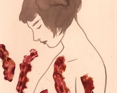 Bacon Bits - original walnut ink painting with fabric collage on cream paper