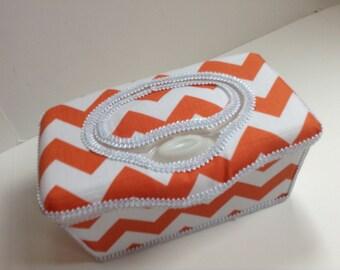 Boutique Flip Top Baby Wipe Tub - Orange Chevron Covered Nursery Wipes Box