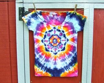 Junior Medium Women's Tie Dye T-shirt - Sunset Lotus Mandala - Ready to Ship