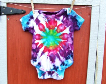 18m Tie Dye Baby Onesie - Spring Burst - Ice Dyed - Ready to Ship