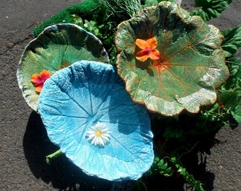 "Leaf Birdbath, concrete leaf art, Leaf 6801, double squash, 12hx9"" Stands in garden - concrete leaf bird bath stands over flowers or in pots"