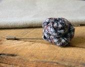 Tweed lapel flower. Men's boutonniere. Checked lapel pin. Wool brooch. Beige, burgundy, denim blue.