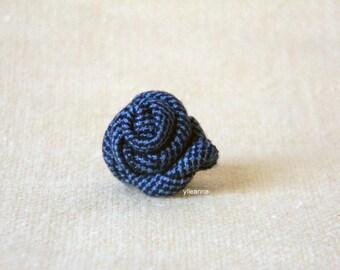 Men's lapel pin. Lapel flower. Men's boutonniere. Men accessories. Rose boutonniere, blue and navy.