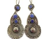 Lapis Earrings, Afghan Earrings, Vintage Earrings, Kuchi Gypsy, Boho Jewelry, Bohemian, Statement, Mixed Metals, Brass, Dangle Long