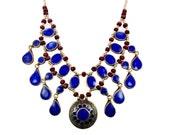 Lapis Necklace, Blue Lapis Lazuli, Vintage Necklace, Boho Statement, Afghan Gypsy, Bohemian, Kuchi Large Big, Belly Dance, Ethnic Tribal