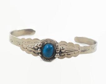 Turquoise Bracelet, Sterling Silver, Cuff Bracelet, Vintage Bracelet, 1970s, Small Wrist, Boho Statement, Bohemian, Ethnic, Stacking