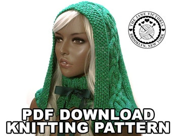 Cabled Hood Knitting PATTERN, Elbereth Telemnar, PDF DOWNLOAD