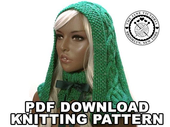 Knitting Pattern Notation : Cabled Hood Knitting PATTERN Elbereth Telemnar PDF DOWNLOAD