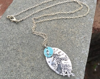 Silver Leaf Necklace With A Blue Patinaed Bird,  Charm On A Silver Chain, Birthday Gift, Bluebird Necklace, Hand Painted, Jewelry, Gift