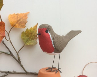 Handmade fabric textile robin bird model, soft sculpture christmas decoration