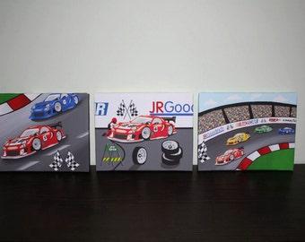Set of 3 Racecar Car Race Track Baby Boy Nursery Art on Stretched CANVAS 3CS027