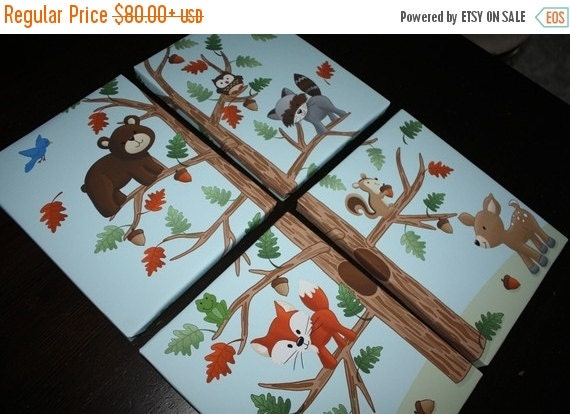 THANK YOU SALE Set of 4 Woodland Friends Forest Animals on Stretched Canvases Kids Bedroom Baby Nursery Canvas Wall Art 4Cs027