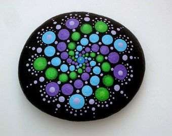 Boho chic decor-Hippie dot art-mandala stones-painted rocks-spring-spiral teal purple green-unique ooak 3D art-Zen chakra-bohemian-collage