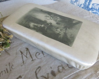 Vintage French Chocolate Box / Old French Candy Box / Cream Satin Fabric Box / Romantic Vignette / Paris Boudoir Chic / Marie-Antoinette