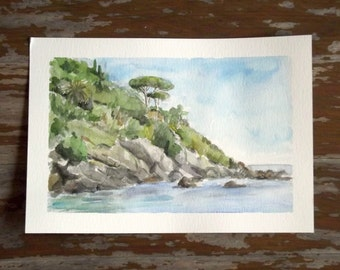 mediterranean coast landscape watercolor seascape impressionist art
