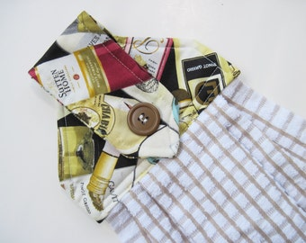 Button top towel  oven door towel Wine Bottles  Quiltsy handmade