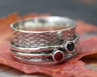 Spinner Ring,  Birthstone Rings,  Made To Order, Sterling Silver, Personalized